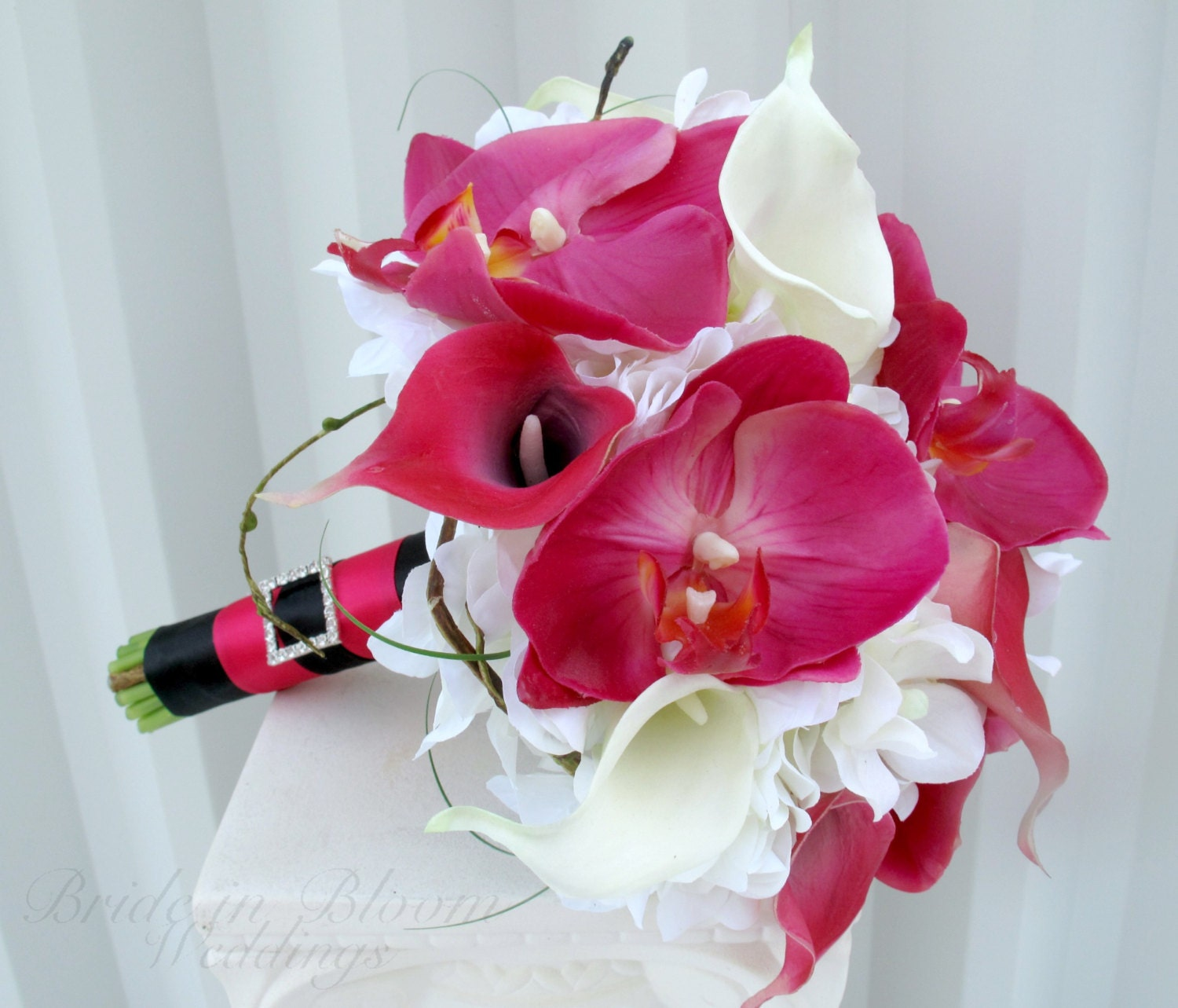 Brides bouquet Hot pink bouquet Calla lily orchid Wedding