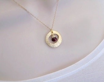 Birthstone Necklace, Minimal Necklace, Dainty Gold Necklace, Garnet Necklace, January Birthstone, Pendant Necklace, Birthstone Jewelry,gifts