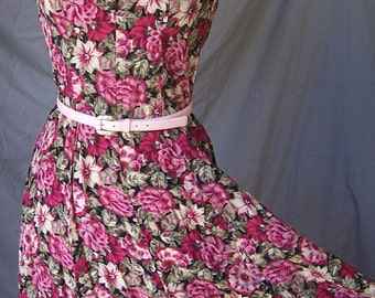 ENGLISH ROSE vintage 80's red floral rayon summer sun dress S/M