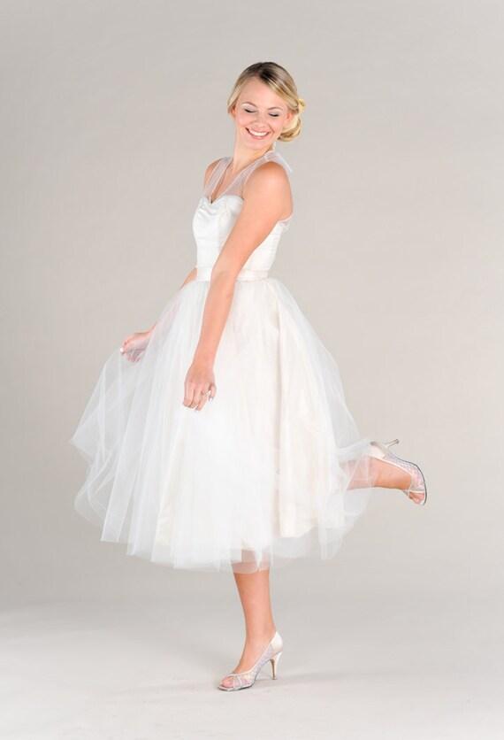 Items similar to tea length tulle wedding dress vintage for Tea length wedding dress tulle skirt