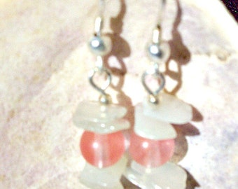 Cherry Quartz Earrings with  New Jade  ID 130