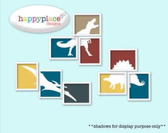 Digital Download File of Tyrannosaurus Rex, Pterodactyl & Stegosaurus Dinosaur Printable Wall Art for Child's Bedroom or Nursery