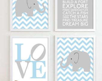 Baby Boy Nursery Art Chevron Elephant Nursery Prints, Kids Wall Art Baby Boys Room, Baby Nursery Decor Playroom Rules Quote Art