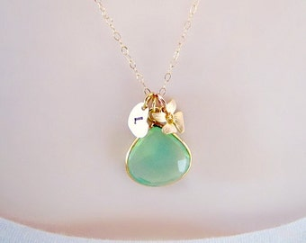 Gold Initial Necklace, Peridot Necklace, Orchid Necklace, Pendant Necklace, Heart Necklace, August Birthstone, Personalized Jewelry,monogram