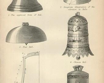 Antique Print, 1890 BELLS, engraving print