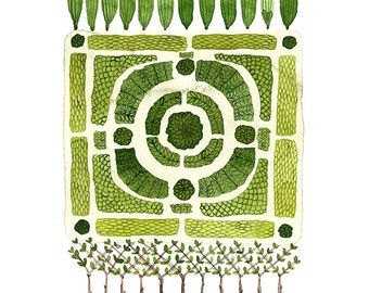 LARGE Knot Garden No. 1 Print, giclee print, garden plan, english garden illustration, botanicals, watercolor reproduction