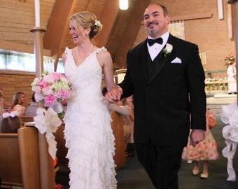 Hippie Boho Ruffle Wedding Dress with Straps V Neckline Bridal Gown