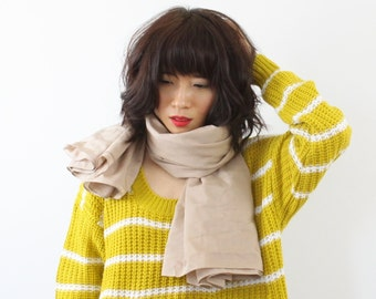 Nude Colour Fine Silk Cotton Large Scarf, Beige Scarf