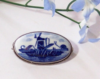 Vintage Delft Brooch Blue Oval Pin,  Windmill,  Souvenir of Holland, Cobalt Blue on White