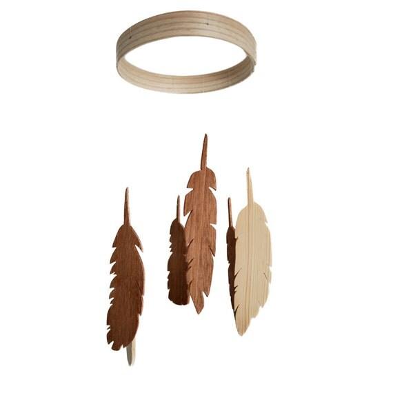 Feather Mobile - Wooden Mobile - Wood Feather Mobile - Nursery Mobile