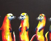Miniature Archival Watercolor Paper Print, Flaming Otters on Chocolate, 3.5x.6.5, Yellow, Orange, Otters Art,  Vibrant, Bright Colors