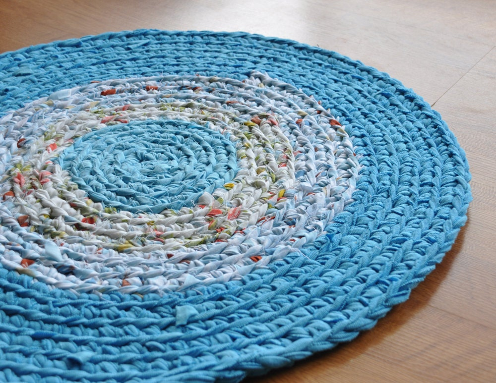 Rug by EKRA Robins Egg Blue Round Crochet Upcycled Area