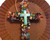 Reserved Listing for Beth-Beaded Wire Cross Ornament Multi Colored Millefiori Bead Chips Turqouise Cross Bead Focal