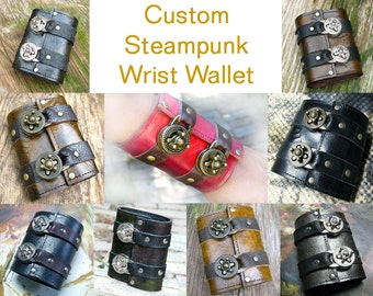 Unisex Leather Steampunk Wristband Wallet Cuff for Men, Women, Bikers or people that travel - Made To Order