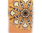 Passport Cover - Sunburst Mandala - fits US passports - orange, black, white, and yellow passport holder
