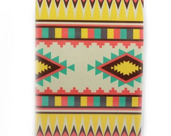 Passport Cover - Aztec Stripe - passport holder- turquoise, yellow, coral, brown - sunset desert Southwest colors