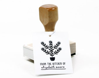 Plant Personalized Rubber Stamp - Custom Name - Custom Stamp