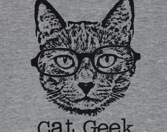 Cat Geek Grey Mens/Unisex Tee