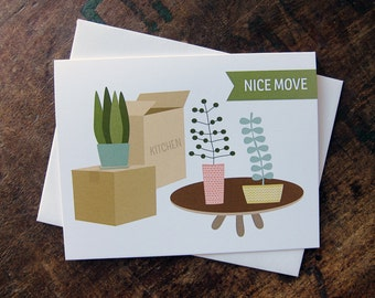New Home Card, New House, New Condo, Mid Century, Moving Card - Nice Move