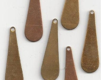 6 Vintage Brass Long Drops