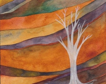 Ghost Tree Original Watercolor by Megan Noel