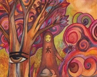 Tree Spirit Original Watercolor by Megan Noel