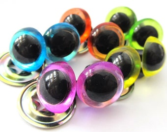 15mm Suncatcher Craft Eyes in Pastels (sky, orange, lime, yellow, pink)
