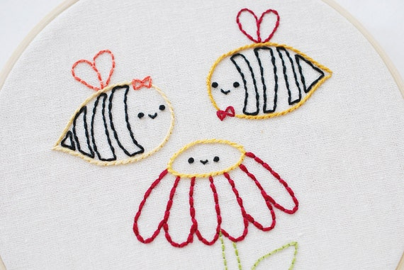 A Heart Full of Honey - Honey Bee Valentine PDF Embroidery Pattern
