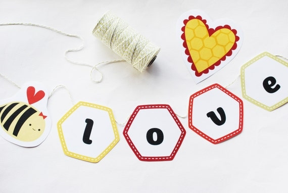 A Heart Full of Honey - Bee Valentine Printable Craft Kit PDF