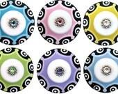 Colorful Black White Dots Hand Painted Swarovski Crystal Jeweled Dresser Decorative Furniture Cabinet Kids Children Teen Drawer Knobs Pulls