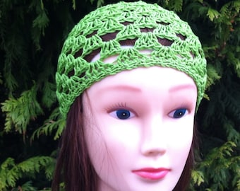 V's Spring Beanie in Bright Green - Teen- Adult Small
