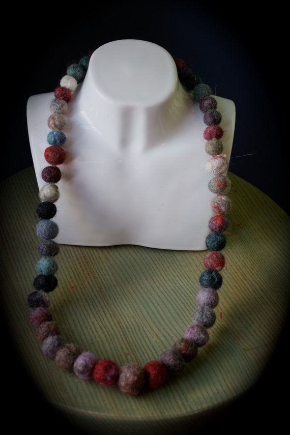 Felt Pearl Necklace, multi coloured with green glass and labrodite strung on stainless steel wire