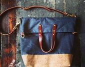 Custom fold over city tote in waxed denim and cork