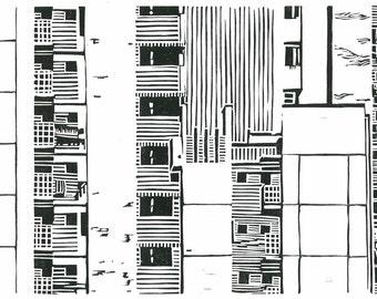 LINOLEUM BLOCK PRINT - Mid Century modern architecture - Singapore Print 9x13