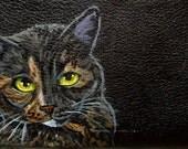 Tortoise Shell Cat Custom Painted Women's Leather Wallet Black