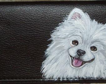 White Pomeranian Dog Custom Hand Painted Leather deluxe Checkbook Cover Checkbook Holder