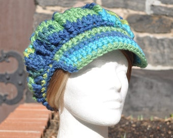 Blue Yellow and Green Crocheted Hat - Crocheted Newsboy Hat with Brim - Women's Hat Accessories
