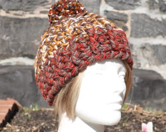 Thick Skullcap in Browns with Big Fluffy Pom Pom - Crochet Hat - Brown Hat with Pom Pom