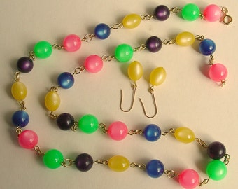 Long Lucite Moonglow  Bead Chain Necklace & Earrings