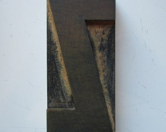 Antique Letterpress Wood Type Printers Block Letter Z