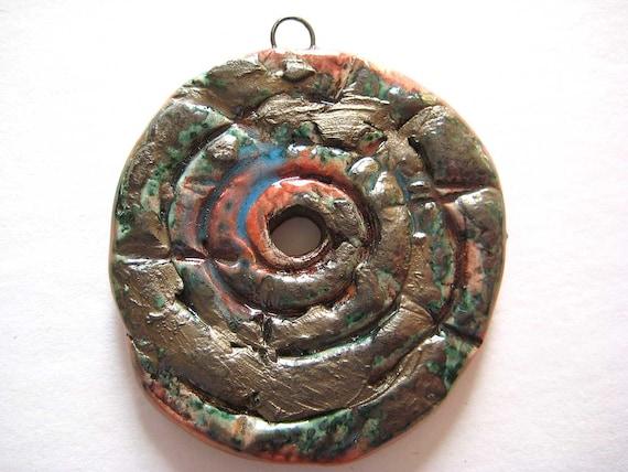 SALE Handmade Ceramic Rustic Tribal Style Spiral Pendant