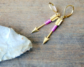 Pink Arrow Earrings - wire wrapped arrow earrings - arrow earrings - brass arrow earrings - Arrow Jewelry - Sagittarius