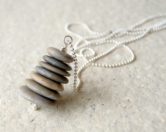 Beach Stone Cairn Necklace with silver plated ball chain - River Rock Cairn Necklace - FREE GIFT WRAP