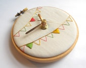 Ice Cream Bunting Hand Embroidered Mini Wall Clock