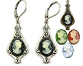 Victorian Style Cameo Earrings MULTIPLE COLORS Available in Green Black or Carnelian and Cream by Nouveau Motley