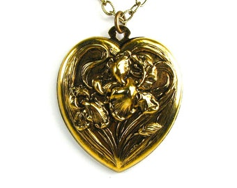 CLEARANCE 50% OFF Large Art Nouveau Sweet Heart Necklace with Iris in Antiqued Brass by Nouveau Motley