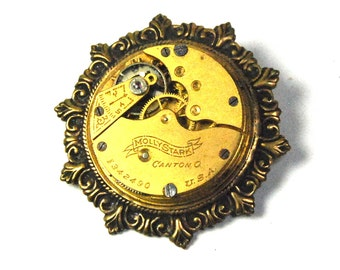Steampunk Brooch with Edwardian Elgin Antique Pocket Watch Movement in Gold Brass by Nouveau Motley