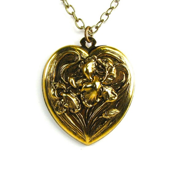 A Large Art Nouveau Sweet Heart Necklace with Iris in Antiqued Brass by Nouveau Motley