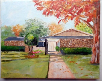 16 x 20 House portrait oil painting custom from your photos by artist Robin Zebley