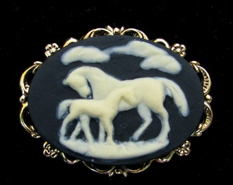 Cameo Brooch or Pendant Mare and Foal Arabian Horse Black and Creme